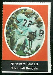 Howard Fest 1972 Sunoco Stamps football card