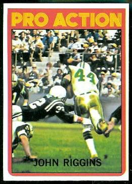 John Riggins Pro Action 1972 Topps football card