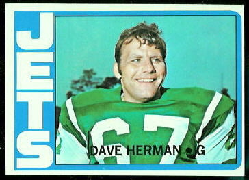 Dave Herman 1972 Topps football card