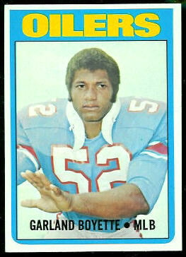 Garland Boyette 1972 Topps football card