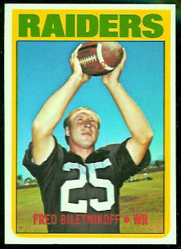 Fred Biletnikoff 1972 Topps football card