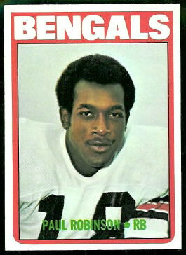 Paul Robinson 1972 Topps football card