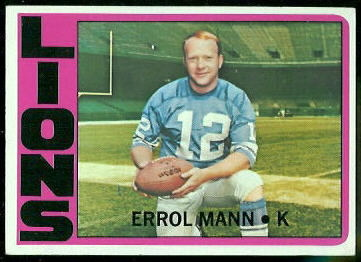 Errol Mann 1972 Topps football card