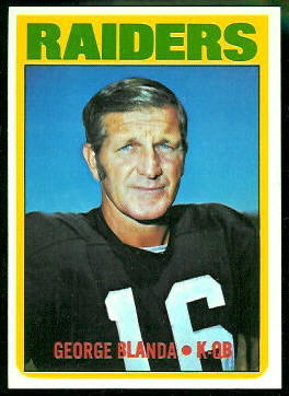 George Blanda 1972 Topps football card