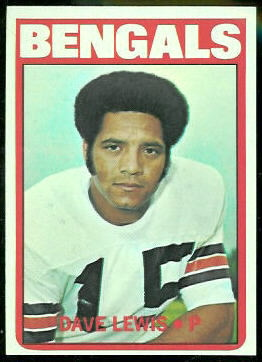 Dave Lewis 1972 Topps football card