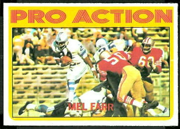Mel Farr Pro Action 1972 Topps football card