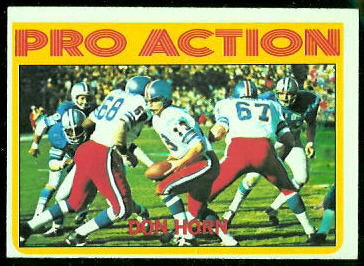 Don Horn Pro Action 1972 Topps football card
