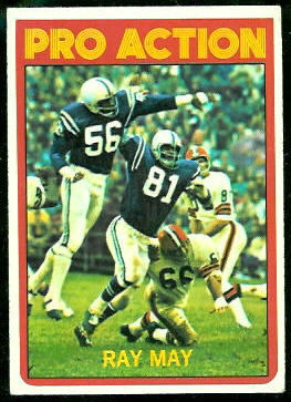 Ray May Pro Action 1972 Topps football card