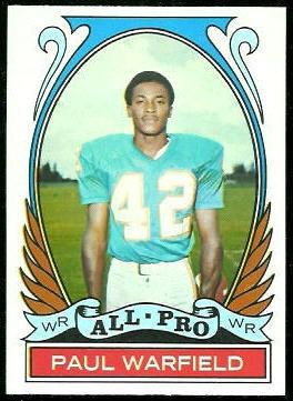 Paul Warfield All-Pro 1972 Topps football card