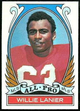 Willie Lanier All-Pro 1972 Topps football card