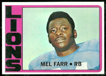 Mel Farr 1972 Topps football card