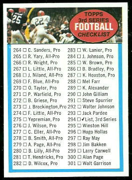 3rd Series Checklist 1972 Topps football card