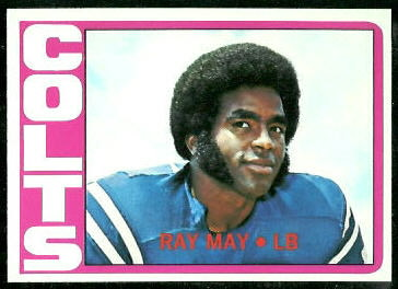 Ray May 1972 Topps football card