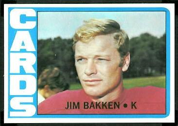 Jim Bakken 1972 Topps football card