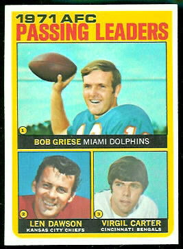 1971 AFC Passing Leaders 1972 Topps football card