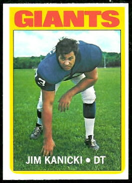 Jim Kanicki 1972 Topps football card