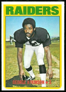 George Atkinson 1972 Topps football card