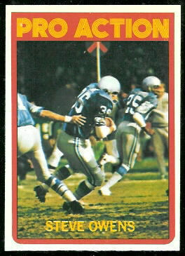 Steve Owens In Action 1972 Topps football card