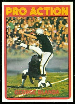 George Blanda In Action 1972 Topps football card
