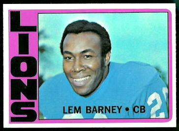 Lem Barney 1972 Topps football card