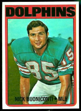 Nick Buoniconti 1972 Topps football card