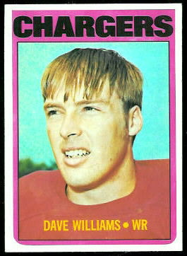 Dave Williams 1972 Topps football card