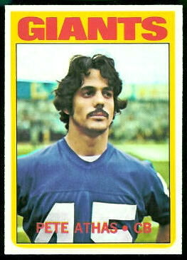 Pete Athas 1972 Topps football card