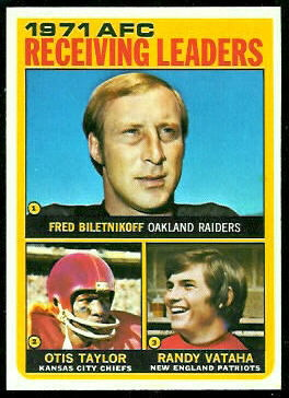 1971 AFC Receiving Leaders 1972 Topps football card
