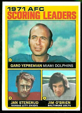 1971 AFC Scoring Leaders 1972 Topps football card