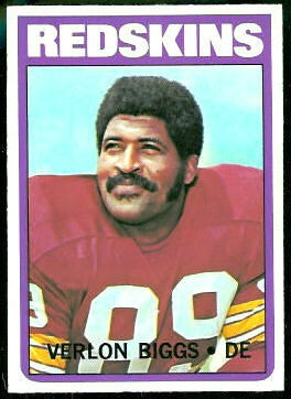 Verlon Biggs 1972 Topps football card