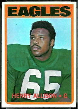 Henry Allison 1972 Topps football card