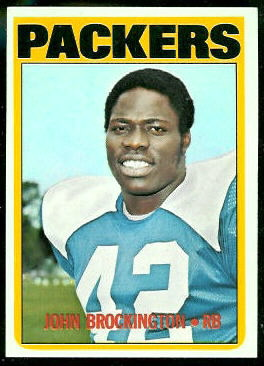John Brockington 1972 Topps football card