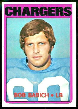 Bob Babich 1972 Topps football card