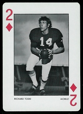 Richard Todd 1973 Alabama Playing Cards football card
