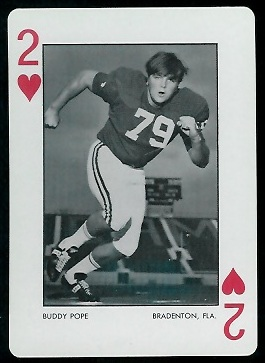 Buddy Pope 1973 Alabama Playing Cards football card
