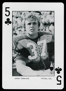 Jimmy Sirmans 1973 Auburn Playing Cards football card