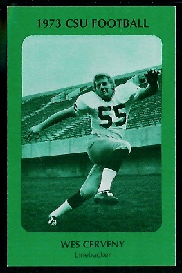 Wes Cerveny 1973 Colorado State football card