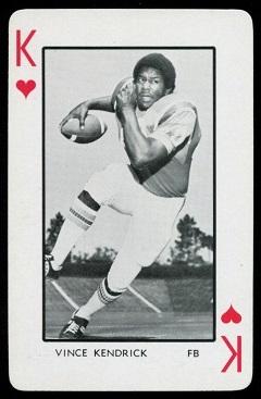 Vince Kendrick 1973 Florida Playing Cards football card