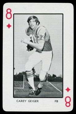 Carey Geiger 1973 Florida Playing Cards football card