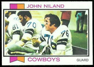 John Niland 1973 Topps football card