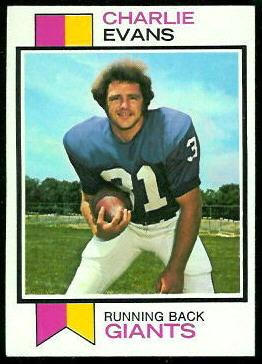 Charlie Evans 1973 Topps football card