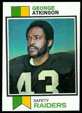 George Atkinson 1973 Topps football card