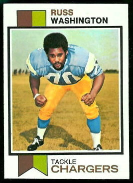 Russ Washington 1973 Topps football card