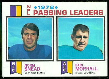1972 Passing Leaders 1973 Topps football card