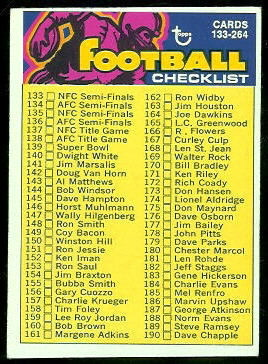 Checklist 133-264 1973 Topps football card