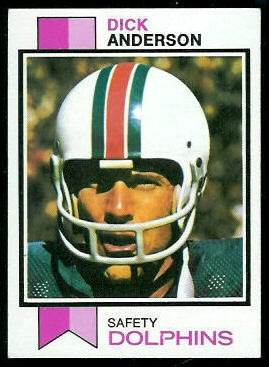 Dick Anderson 1973 Topps football card