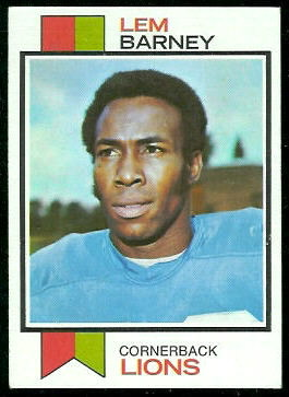 Lem Barney 1973 Topps football card