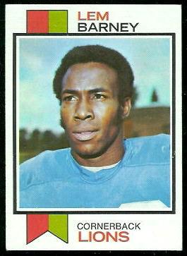 Lem Barney 1973 Topps football card