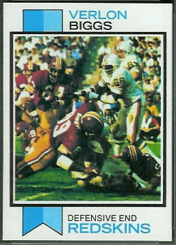 Verlon Biggs 1973 Topps football card
