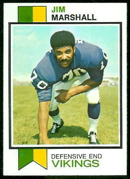 Jim Marshall 1973 Topps football card